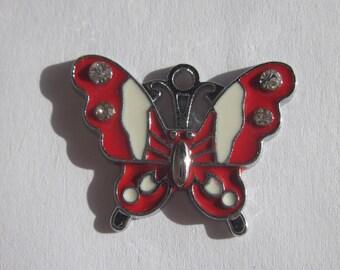 meta and rhinestones 2 cm - (65) - Butterfly shape charm