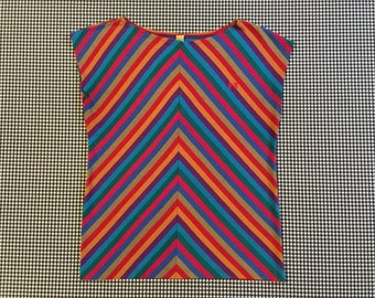 1980's, sleeveless, jersey knit, top, in colorful, diagonal stripes, by Hang Ten, Women's size Medium