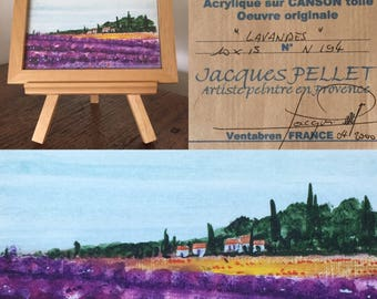 Vintage French Painting of Lavendar Fields ... Free Shipping ... 10 % Off Coupon SAVE10