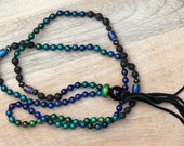 """ZenHappy """"Mood Mala"""" Necklace - Miracle Mood Beads, Lava Stone, Rainbow Obsidian; Aromatherapy Diffuser Necklace; Tassel Necklace"""