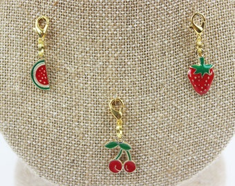 Planner Charm - Fruit Gold Planner Jewelry, Accessories Watermelon Half, Cherry, Strawberry