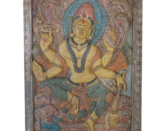 Vintage Hand Carved Door Panel Vishnu Sitting On Sheshnaga India Carving Wall Sculpture, Eclectic Interior Free Ship Early Black Friday