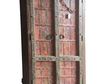 Antique Armoire Furniture Floral Hand Painted Cabinet Vintage Mediterranean Boho Shabby Chic Interiors FREE SHIP Early Black Friday