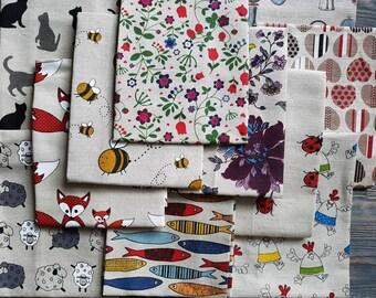 Linen kitchen towels set of 2, linen dishcloths, cats sheeps hearts flowet printed linen towels, tea towels, kitchen decor, linen towel set