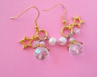 Gold Star Cluster Crystal Earrings - Fairy Kei Jewelry Kawaii Pastel Kawaii Earrings with Stars - Kawaii Cute Jewelry - Pastel Goth