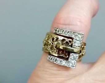 1970s Rare Panetta Vermeil Faux Diamond Brutalist Modernist Buckle Ring  Size 5