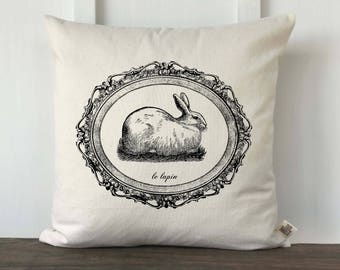Farmhouse Easter Bunny Pillow Cover, Spring Pillow, Vintage French Easter, Decorative Pillow Cover, Easter Pillow, Le Lapin Pillow Cover