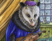 The Luthier limited edition fine art print Renaissance possum violin musical instrument anthropomorphic animal portrait