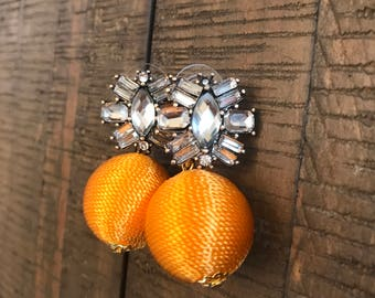 Marigold jeweled thread ball earrings