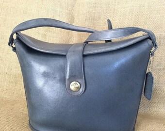 15% SUMMER SALE Vintage COACH navy blue leather shoulder bag with adjustable strap cross body