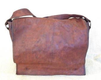 20% SUMMER SALE Vintage brown waxed leather messenger travel bag crossbody