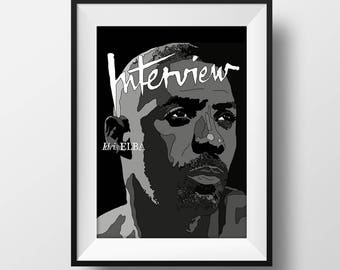 Idris Elba - Interview Magazine Cover Poster - Graphic Illustration A4 - Art Print