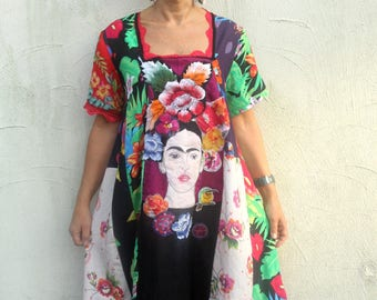 L Frida Kahlo floral garden patchwork dress recycled upcycled hippie boho romantic