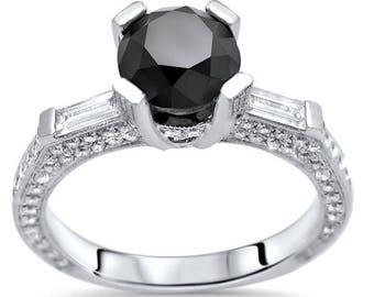 Black Round Cut Diamond Engagement Ring 2.40ct Wedding 18k White Gold