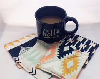 Quilted Coasters Aztec Print Set of 4