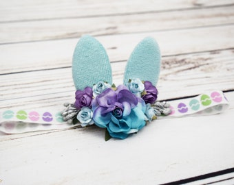 Handcrafted Baby Easter Headband - Baby Bunny Ears Headband - Purple and Blue Easter Headpiece - Small Rabbit Ears Accessory -Spring Newborn