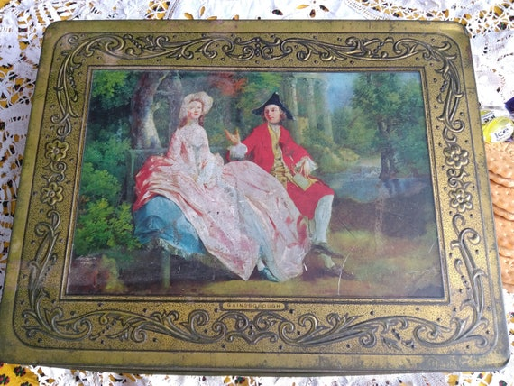 Gainsborough Painting Box Large Gold Tin Box Mid - Century Belgium Toleware Box Storage Collectible #sophieladydeparis