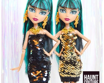 "Monster Doll Haunt Couture 2017 ""Magic Scales Mini"" high fashion doll clothes overalls"