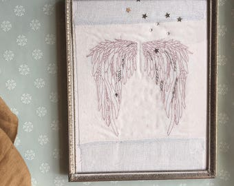 Framed Machine Embroidery; Ready to Ship, Angel Wings with Stars and handstitching
