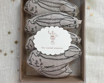 Packaged Ornament Gift Set, Set of Four Scented Ornaments, READY TO SHIP,