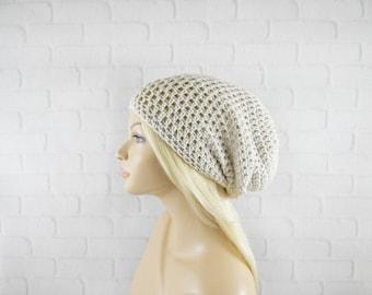 Crochet Beanie Hat, Beige Slouch Hat, Baggy Beanie, Crochet Hat Womens, Extra Slouchy Hat, Tam Hat, Vegan Beanie, Oversized Beanie