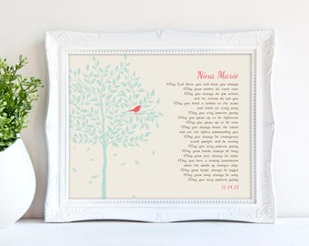 Personalized Christening Gift, Forever Young Lyrics Print, Gift for Godchild, Baptismal Gift, Nursery Wall poster art 8 x 10,