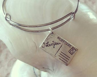 Postcard Charm Stacking Bracelet Bangle