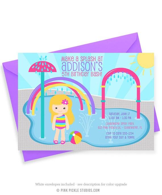 Splash Pad Invitations Water Park Birthday Party Spray Park – Park Birthday Invitations
