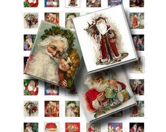 SALE- Vintage Santa Claus - Digital Collage Sheet   - .75 x .83 Scrabble Size - INSTANT DOWNLOAD