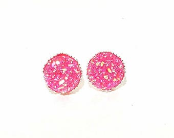Hot Pink Druzy Crown Earrings , Pink Earrings, Crystal Earrings, Faux Druzy Earrings, Pink Earrings,Druzy Earrings