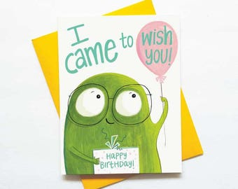 Cute birthday monster card