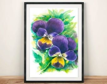 Purple Pansies Print Watercolor Floral Painting Vibrant colors Realistic Summer Flowers Home Art Gift