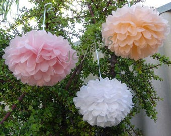Pink Peach White Tissue Paper Pom Pom - Hanging Decoration Wedding Baby Shower Party Baptism Engagement Bridal Shower Christmas New Year