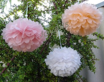 18pcs Mixed Size Pink Peach White Tissue Paper Pom Pom - Hanging Decoration Wedding Baby Shower Party Girl's Birthday Sweet 16 Bridal Shower
