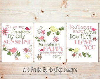 Baby girl nursery art Baby wall prints Childrens wall decor You are my sunshine wall art Baby girl quotes Baby art prints Girls room decor