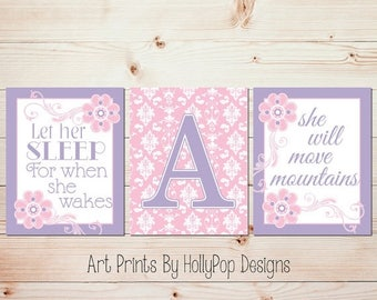 Baby Girl Nursery Decor Pink Purple Nursery Decor Let Her Sleep For When She Wakes She will Move mountains Damask Girls Room Decor 0780