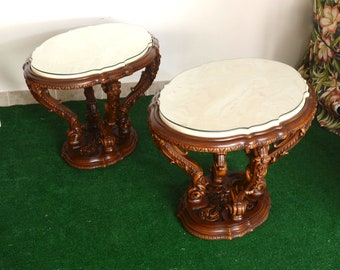 pair of Italian Rococo Revival marble and rosewood side/ end tables
