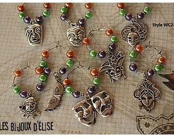 Mardi Gras Wine Charms Set of 8 with Party Favor Wine Glass Charms (WC21-WC21)