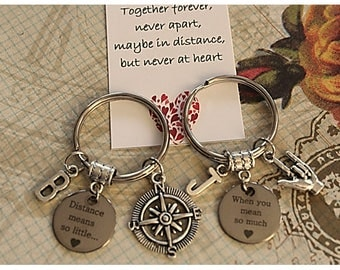 Set of 2 Personalized Distance Means So Little When You Mean So Much Couple Keychain Long Distance Relationship (KC60)