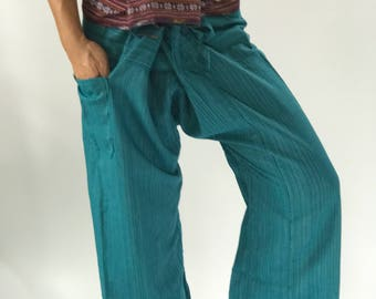 TCP0023 Thai Fisherman Pants with Thai hand woven fabric on waist side, Wide Leg pants, Wrap pants, Unisex pants