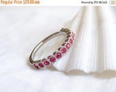 CIJ SALE July Birthday. Swarovski Half Eternity Ring. Stacking RIng. Indian Pink. Simple Modern Jewelry by PetitBlue