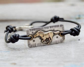 Sterling Horse Bracelet. Brass Horse . Leather .  Handmade  . Rustic . Earthy . Boho . Hand Stamped .  Bracelet