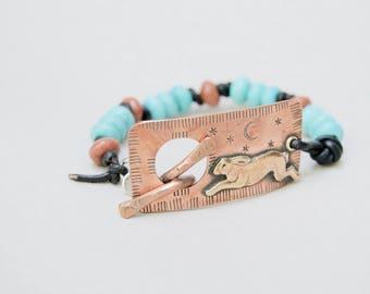 Copper Bracelet Rabbit & Night Sky . Leather . Turquoise .  Handmade  . Rustic . Earthy . Boho . Hand Stamped .  Bracelet