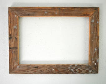 13 x 19  Natural Wood Frame, Reclaimed Farmhouse Floor Board, Rustic, and Re-purposed, Worn wood