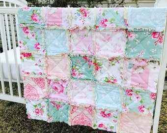Crib Rag Quilt, Pink Blue Roses Baby Quilt Crib Bedding Pastels Crib Bedding Baby Girl Floral