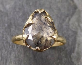 Fancy cut salt and pepper Diamond Solitaire Engagement 18k yellow Gold Wedding Ring Diamond Ring byAngeline 1044