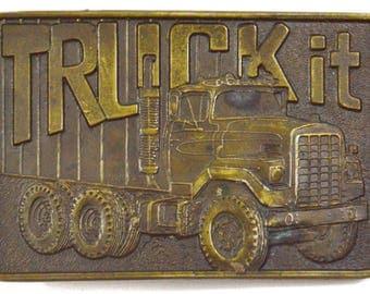 Vintage 70s Truck It Trucker Lewis Buckle Co., Inc. Belt Buckle