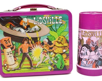 Vintage 70s Sid & Marty Kroft's Lidsville Metal Aladdin Lunch Box with Thermos