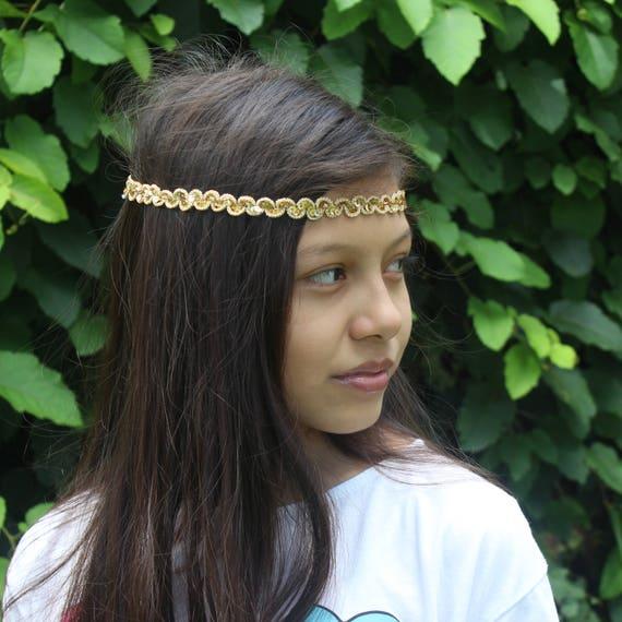 Boho Headband, Gold Boho Headband, Adult Boho Headband, Bohemian Headband, Forehead Headband, Halo Headband, Bridal Boho, Gold Headband
