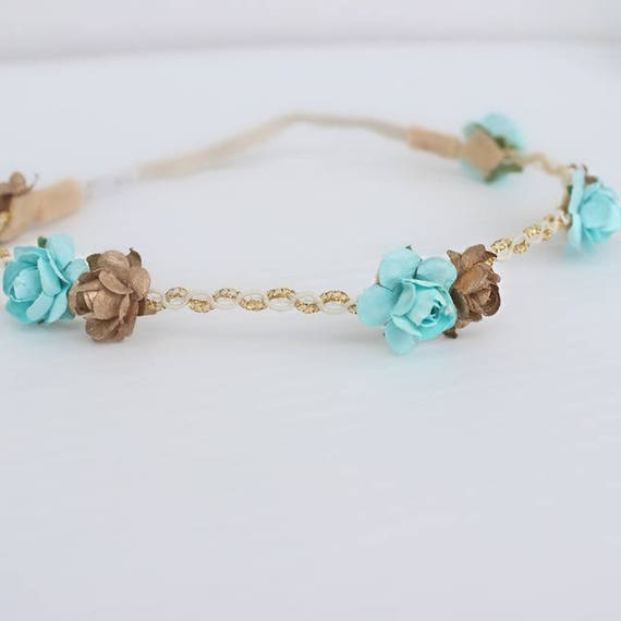 Light Blue Headband, Gold Baby Headband, Flowers Crown, Gold Leaf Headband, Paper Flowers Headband, Girls Headband Flowers, Blue Headband